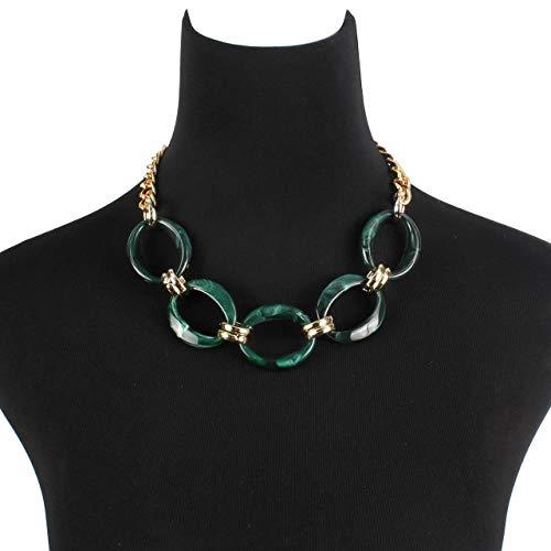 SHUX Halskette Stilvolle Herbst Und Winter Pullover Frau Schlüsselbein Halskette Jeweroy Zubehör, Grün, 45Cm