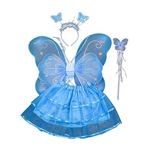 Amosfun 4-teiliges Mädchen-Kostüm, Feenflügel, Schmetterlings-Kostüm, Party-Kostüm-Set mit Flügeln, Tutu Halo für Kleid und Rollenspiele (Himmelblau) (Für Mädchen Halo-kostüme)