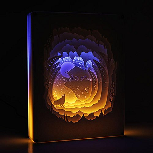 OOFAY LIGHT® Licht und Schatten Papier Geschnitzt Lampe Bull Schreibtisch Dekoration Schreibtischlampe DIY Geburtstag Valentinstag Geschenk kreative Handarbeit (Geschnitzte Schreibtisch)