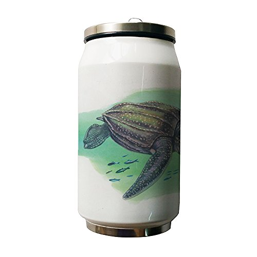 Okoukiu Sea Turtle e pesci bianco doppio isolamento sottovuoto in acciaio INOX lattine bottiglie d' (Pesce Tumbler)