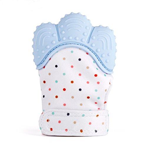 Kwock Bunter Handschuh Baby Zahnen Fäustlinge Handschuh, neu gestaltet Beruhigende Schmerzlinderung Schützt Babys Hände vor Kauen mit verstellbarem Gurt Geeignet für Alter 2-12 Monate (Blau)