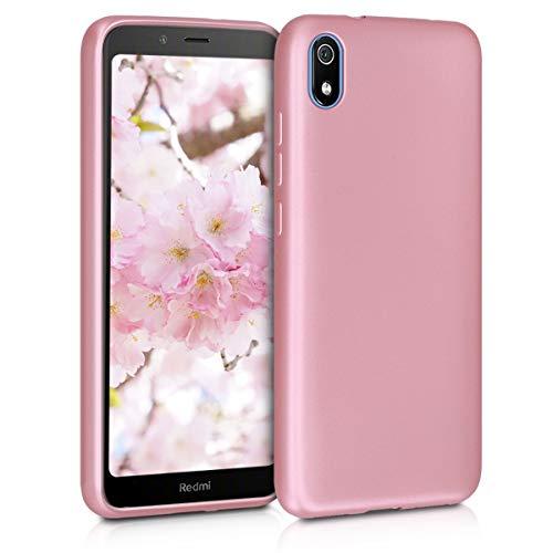 kwmobile Funda para Xiaomi Redmi 7A - Carcasa para móvil en TPU Silicona - Protector Trasero en Oro Rosa Metalizado