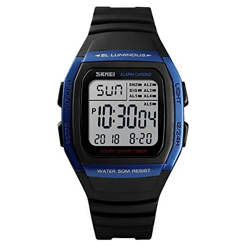 dische Einfache Outdoor wasserdichte Digitaluhr Student Sport Armbanduhr Unterstützung 5 Gruppe Wecker Mode (Farbe : Blau) ()