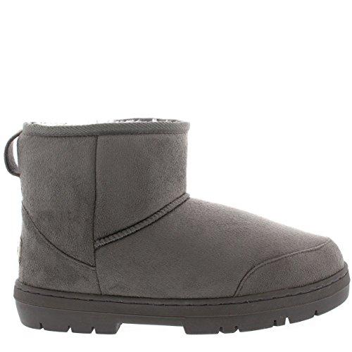 Damen Schuhe Classic Mini Fell Schnee Regen Stiefel Winter Fur Boots Grau
