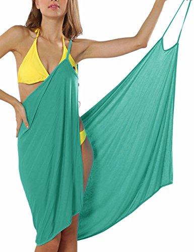 EMMA Damen Sexy V-Ausschnitt Spaghetti Träger Rückenfrei Blumen Muster Strandtuch Wrap Wickelnkleid Sarong Plus Size Top Bikini Cover Up Strandkleider Grün