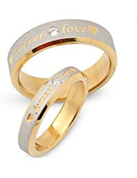 Anvi Jewellers Valentines Day Special Platinum Plated Couple Love Ring 1Pc (White)