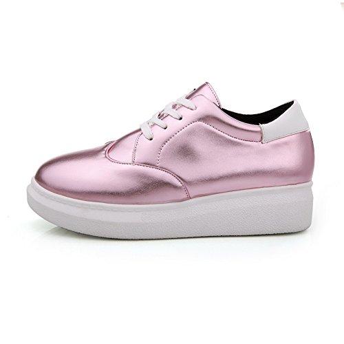 AllhqFashion Damen Rein Pu Leder Niedriger Absatz Rund Zehe Schnüren Pumps Schuhe Pink