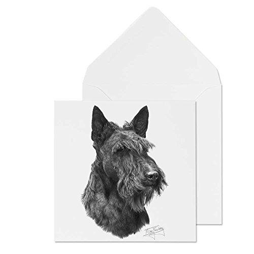 Mike Sibley Scottish Terrier Print Hunderasse blanko Grußkarte Alle Anlässe frei Porto -
