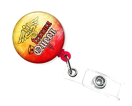 Trauma Queen ED Nurse ER Notfall Raum Krankenschwester Retractable Badge Holder 1.5 inches diameter Multicolor_NB