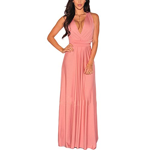 Lover-Beauty Kleider Damen V-Ausschnitt Rückenfrei Neckholder Abendkleider Elegant Cocktailkleid Multi-Way Maxikleid Lang Chiffon Party Kleid, Rosa, (EU 34-36)S