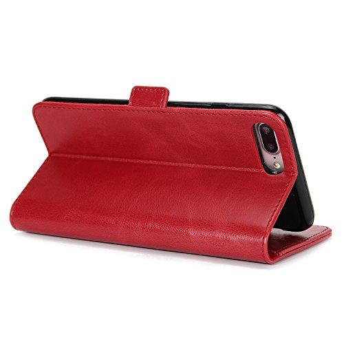 SunFay Coque Pour iPhone 8 Plus, Etui Portefeuille à rabat Magnétique PU Cuir Housse Flip Mince Couverture Antichoc Protection avec Support Slots de cartes Case Cover pour iPhone 8 Plus - Noir Rouge