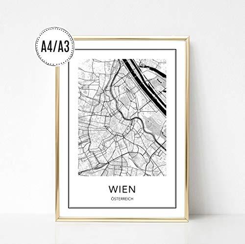 Poster Karte WIEN, Stadtplan, City Map, Kunstdruck, Print, Wandbild, schwarz weiss, minimalistisch, modern, Format: DIN A4 / DIN A3