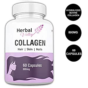 HerbalValley Collagen Supplement for Healthy & Shiny Hair | Strong Nails | Optimal Skin | Joint Care For Women's - 60 Capsules (Pack of 1)