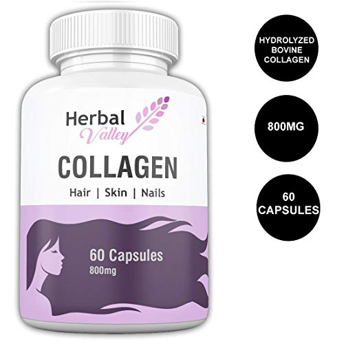 HerbalValley Collagen Supplement for Healthy & Shiny Hair   Strong Nails   Optimal Skin   Joint Care For Women's - 60 Capsules (Pack of 1)