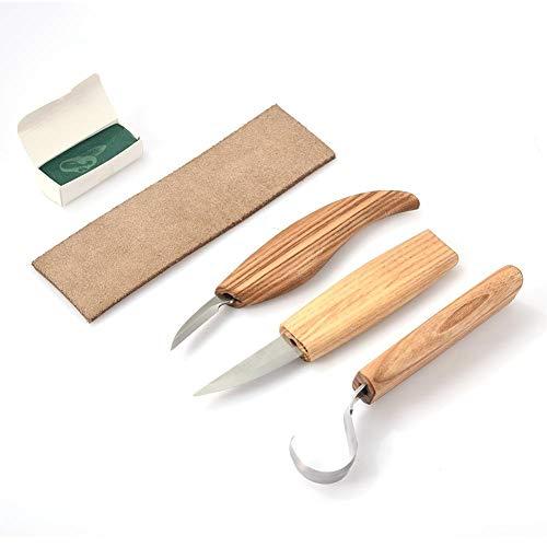 332PageAnn 3er Set Schnitzmesser Schnitzwerkzeug Set - Schaber Schleifsteine Polierwachs Für Holz, Obst, Gemüse, Carving DIY, Skulptur