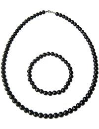 Coffret turmalina negra en perlas de 6mm–pulsera 20cm, sin cierre y collar 78cm con cierre plata