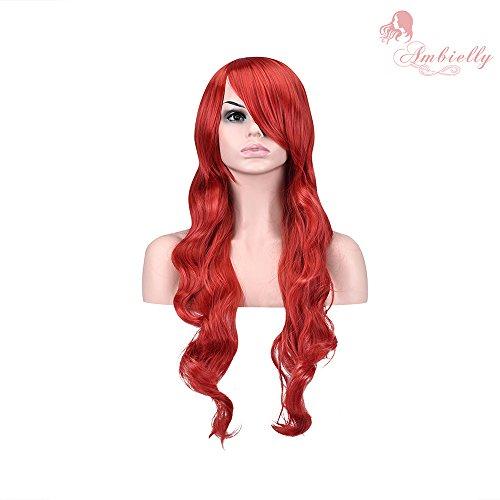 """Ambielly 32 """"/ 80cm aux femmes Perruque Longue Frisé Ondulé Cheveux Fête Cosplay Perruque (Vin rouge)"""