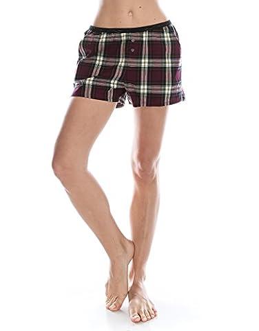 TINFL Women Plaid Check 100% Cotton Pajama Lounge Sleep Short
