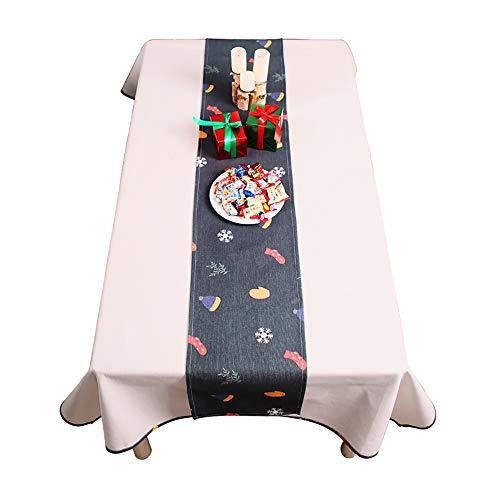 (Elegante Weihnachtstischfahne, Baumwollleinentischdecken-Familienschlafzimmerbettflagge,F-30 * 180cm)