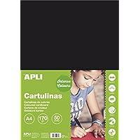APLI 14253 - Cartulina 170g A4 50 hojas, color negro