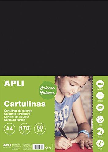 APLI 14253 - Cartulina negra A4 170 g 50 hojas