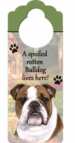 E&S Pets Bulldogge Holz Schild A Spoiled Rotten Bulldog Lives Here mit kunstvollen Foto á 10von 10,2cm kann auf Türen oder überall aufgehängt Werden in Home -