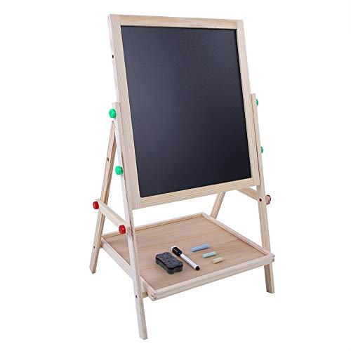 Pizarra infantil de madera, doble cara, pizarra para niños, ajustable, pizarra magnética multifunción, pizarra de dibujo para niños