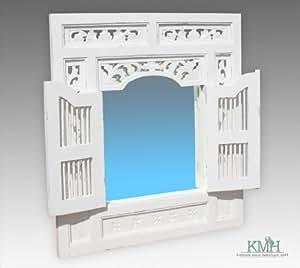 Miroir rabattable style vintage en acajou blanc - 80 x 90 cm)/miroir
