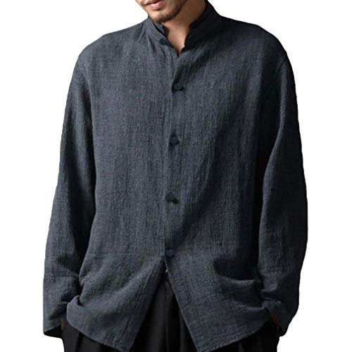 Manica lunga camicia per uomo - moda tinta unita collo coreano camicie uomo bottoni casual camicia primavera autunno shirts tops taglie forti