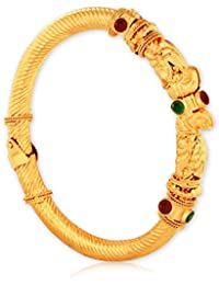 Spargz Traditional Antique Brass Gold Plating Studded Openable Kada For Women AISK 118