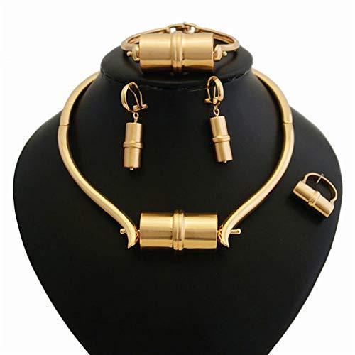 Luxuon Mädchen4 Stück Dubai Goldschmuck Set, Nigerianische Hochzeit Afrikanische Ohrringe Halskette Set Persönlichkeit Geschenk für Sie