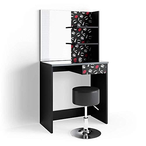 Vicco LED Schminktisch Lipstick schwarz Kommode Frisiertisch Spiegel Hocker Bank (Schminktisch + Hocker)