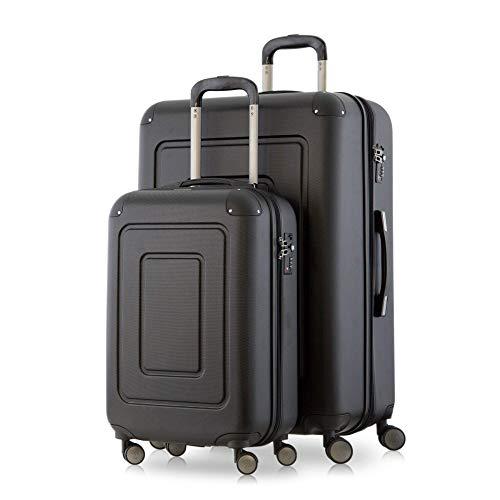 Happy Trolley - 2er Koffer-Set Trolley-Set Rollkoffer Hartschalen-Koffer Reisekoffer Lugano sehr leicht, TSA, (S+XL), Schwarz