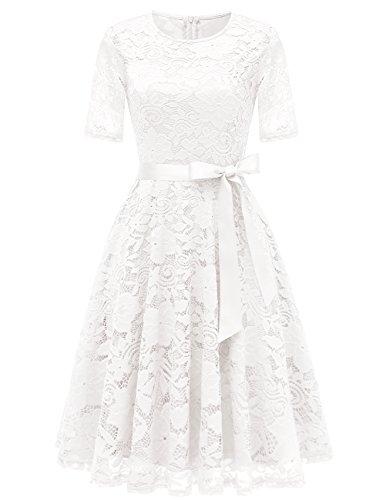 Dresstells Elegant Spitzenkleid Rundhalsausschnitt Sommerkleid Freizeitkleid Cocktailkleider Party Ballkleid White S