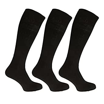 Mens ribbed knee high 100% cotton socks (Pack of 3) (6-11) (Black)