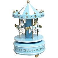 Gugutogo Madera Merry-Go-Round de música del carrusel embroma la caja regalo de los juguetes Wind-Up Musical Box