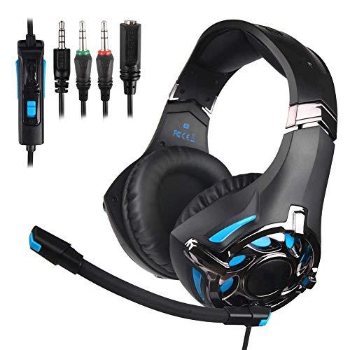 YUNYIN Gaming-Headset mit Lautstärkeregler für Mikrofon, 3,5 mm Surround Kopfhörer mit Geräuschdämpfung, PC PS4 (blau)