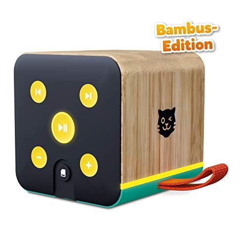Lenco Tigerbox grün Bambus Edition, Bluetooth-Lautsprecher für Kinder, SD-Karten-Slot, Bambus-Gehäuse, inklusiv 4 Wochen Premium-Zugang zu tigertones