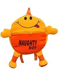 Pratham Enterprises Orange Naughty Boy Cute Soft Toy School Bag For Kids