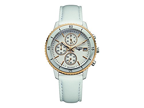 ELYSEE Women's Sina 40mm White Leather Band Steel Case Quartz Silver-Tone Dial Analog Watch 83800