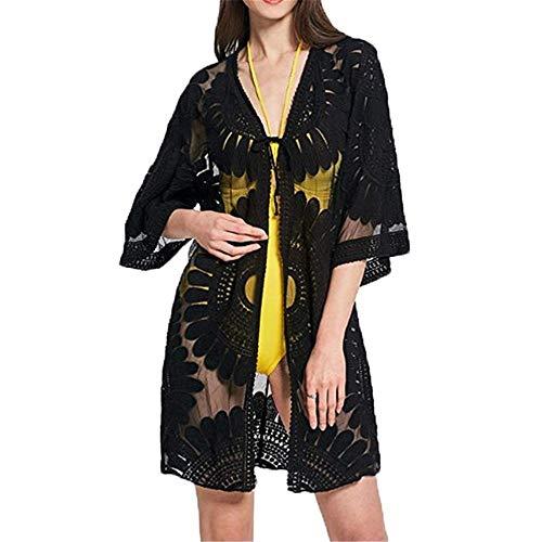 Badeanzug MEIVV Womens Freibad vertuschen Beachwear Kleid Vintage Lace Crochet Floral Pool Bikini Bademode Kimono Cardigan Schiere Blusen Top Outwear (Color : A) - Schiere Kimono Top