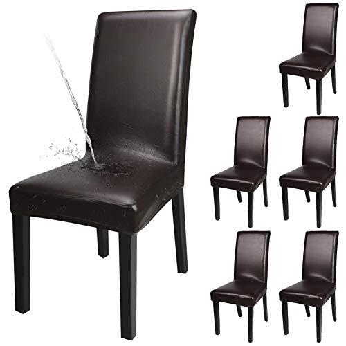 Fuloon Stuhlhussen 4er 6er, Wasserdichtes Pu Leder Stretch Stuhl-Bezug Bi-elastische Schutz-Husse, Dekor moderne Spann-Abdeckung - Leder Stuhl-abdeckung