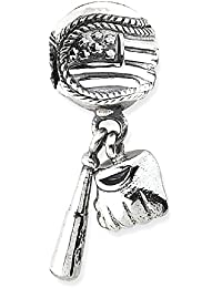 ICE CARATS 925 Sterling Silver Charm For Bracelet Baseball Glove Bat Dangle Bead Sport Fine Jewelry Gift Set For Women Heart