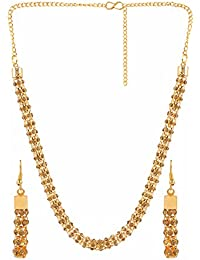 Archi Collection Stylish Fancy Gold Plated Delicate Mala Chain Necklace Earrings Jewellery Set For Women Girls...
