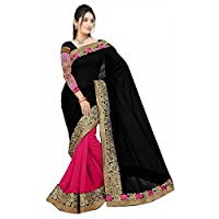 Triveni India Beautiful Pink Colored Border Worked Faux Georgette,Net Festival Saree