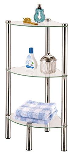 axentia Badezimmer-Eckregal in Silber, verchromtes Badregal rostfrei, Wandregal mit drei Glasböden, Maße: ca. 41 x 30 x 77 cm