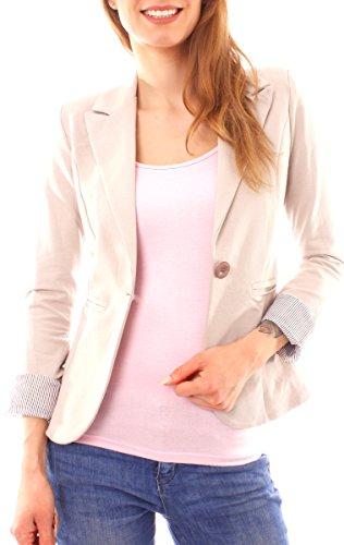 Easy Young Fashion Damen Jerseyblazer Gefüttert Slim Fit Beige