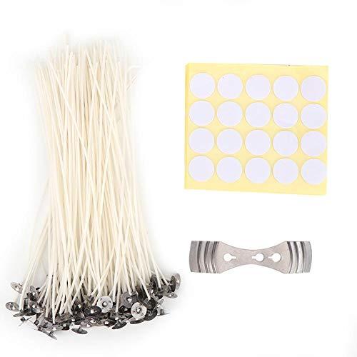 Sorand Candle Wicks Set, Natürliche Baumwollfaser Docht Candle Wick DIY Duftkerze Candle Wick Aufkleber Halter, Mehrere Verwendungen/Stabile Flamme -