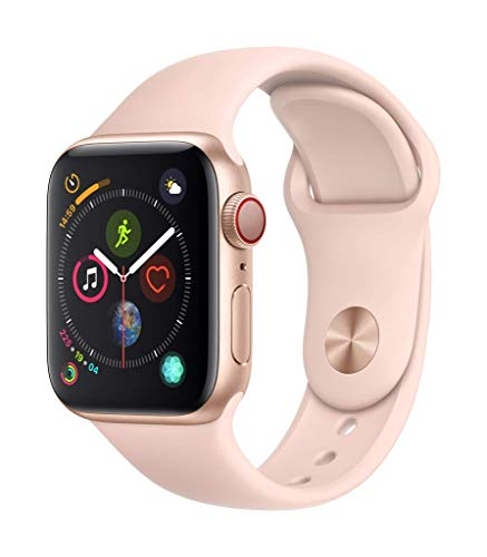 Apple Watch Series 4 (GPS + Cellular) Boîtier en Aluminium Or de 40 mm avec Bracelet Sport Rose des Sables