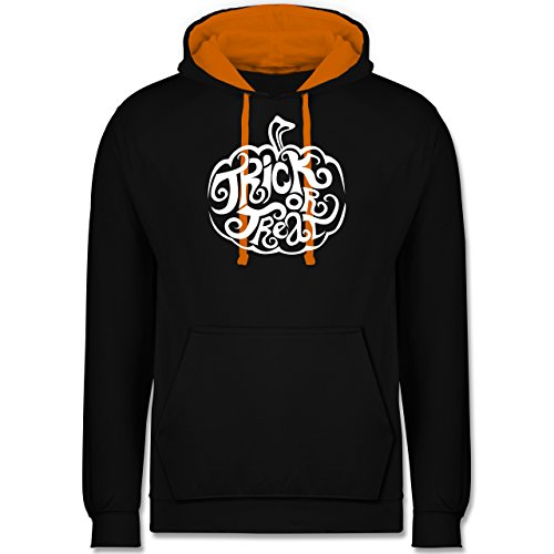Halloween - Trick or treat - Kontrast Hoodie Schwarz/Orange